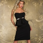 6194 Fashionable Sexy Wrap Chest Halter Cocktail Dress - Black (Size-L)