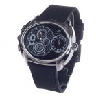 SPEATAK SP9045G Fashion Dual Time Zone Display Men's Quartz Wristwatch - Black + Silver + White