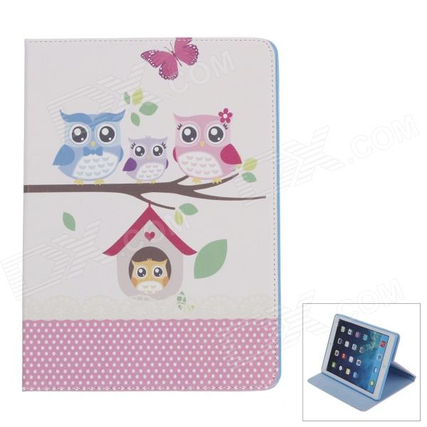 Stylish Owl Pattern Protective PU Leather Case Cover Stand for IPAD AIR - Multicolored lofter happy zoo pattern protective pu pc case w stand for ipad air white brown multicolor