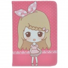 Cute Girl Pattern Protective PU Leather Case Cover Stand for IPAD MINI - Pink + Grey