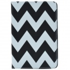 Glow-in-the-Dark Wave Pattern Protective PU Leather Case Stand for RETINA IPAD MINI - Black + White