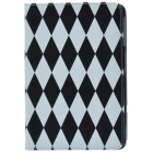 Glow-in-the-Dark Rhombus Pattern PU Leather Case Cover Stand for RETINA IPAD MINI - Black + White