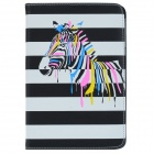Glow-in-the-Dark Zebra Pattern PU Leather Case Cover Stand for RETINA IPAD MINI - Black + White