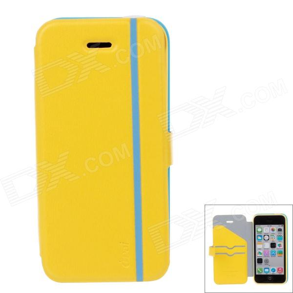 iPai HY3328 Multifunctional Protective PU Leather Case Cover for IPHONE 5C - Blue + Yellow mercury goospery milano diary wallet leather mobile case for iphone 7 plus 5 5 grey