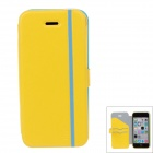 iPai HY3328 Multifunctional Protective PU Leather Case Cover for IPHONE 5C - Blue + Yellow