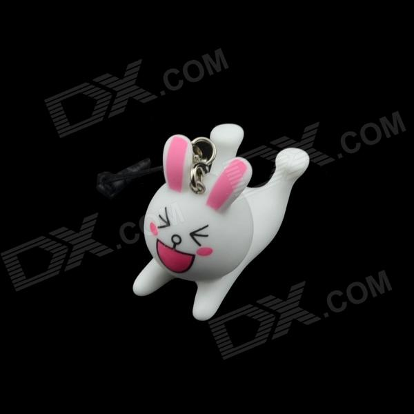 2-in-1 3.5mm Rabbit Style Dust-Proof Plug & Holder for IPHONE - Pink + White