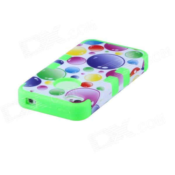 CM04 Colorful Bubble Pattern Protective Silicone Back Case for IPHONE 4 / 4S - White + Green чехол для сотового телефона takeit для samsung galaxy a3 2017 metal slim gold