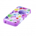 CM04 Colorful Bubble Pattern Protective Silicone Back Case for IPHONE 4 / 4S - White + Purple