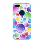 CM05 Colorful Bubble Pattern Protective Silicone Back Case for IPHONE 5 - White + Blue