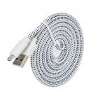 USB Male to Micro USB Male Woven Cable for Samsung P600 / P601 / T310 / T210 / T211 - White + Black