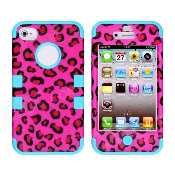 CM001 Leopard Print Pattern Protective Silicone Case for IPHONE 4 / 4S - Black + Blue cool skull head style protective soft silicone back case for iphone 4 4s pink