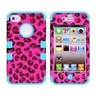 CM001 Leopard Print Pattern Protective Silicone Case for IPHONE 4 / 4S - Black + Blue