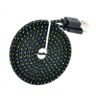 USB Male to MicrO USB Male Data Charging Nylon Flat Cable for Samsung P600 /  P601 / T310 + More