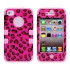 CM001 Leopard Print Pattern Protective Silicone Case for IPHONE 4 / 4S - Black + Pink