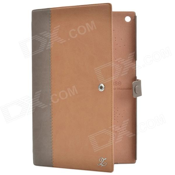 Zenus Casual Style Protective Genuine Leather Case Cover Stand for Sony Xperia Tablet Z - Tawny стоимость