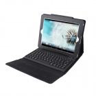 e-J CL-810 Bluetooth V3.0 81-Key Keyboard + Auto-Sleep PU Leather Case Cover Stand for IPAD - Black