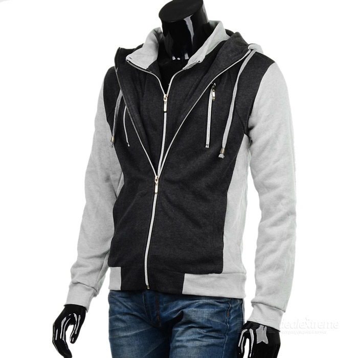 WY33 Fashionable Slim Fit Coat - White + Grey (Size-XXL)