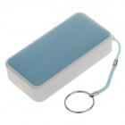 Compact 4300mAh tragbare Mobile Power Source Bank-w / Strap-Ring für Samsung + More - Weiß + Blau