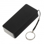 3700mAh tragbare Mobile Power Source Bank-w / Strap Ring für iPhone / Samsung + More - Schwarz