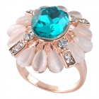 BEILIYA Fashion Sunflower Stil Blue Crystal Ring - White + Deep Blue