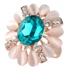 BEILIYA Fashion Style tournesol Blue Crystal Ring - Blanc + Deep Blue
