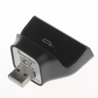 E-TOP H-42 Portable Mini Dock USB Charger Stand w/ 2-USB 2.0 Port Hub for Samsung Galaxy S3 - Black
