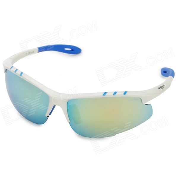 KALLO kl11001 Outdoor Sports PC Lens Cycling Sunglasses - White + Blue - DXSunglasses<br>TR90(Plastic titanium) material proportion 1.0(above 20% lighter than plastic frames) lightweight good elastic not easy to deformation high temperature resistant suitable for long time wearing. PC impact resistance of space lens: use PC space eccentric piece a kind of advanced material widely used in aviation equipment the most shock resistance lens in the world it can prevent the damage when doing sports break the lens more safe lightest super light heat resistance high optical transparency resistance to impact low birefringence ultraviolet-proof etc. six features. Impact resistance is 12 times higher than resin lens 60 times higher than glass lens 100% UV protction early stage widely used at aircraft bulletproof glass the astronauts face mask etc.<br>