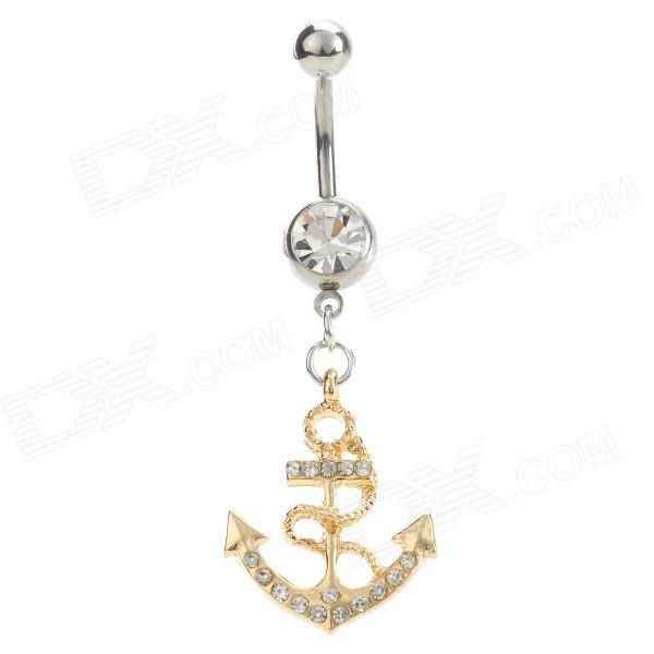 UBE UTY 7056 Anchor Style Zinc Alloy + Rhinestone Belly Button Ring - Golden + Silver fashion birds style double refers zinc alloy open ring silver