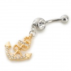 UBE UTY 7056 Anchor Style Zinc Alloy + Rhinestone Belly Button Ring - Golden + Silver