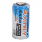 AITELY 3.0V 600mAh Li-FePO RCR123A Battery - White + Blue