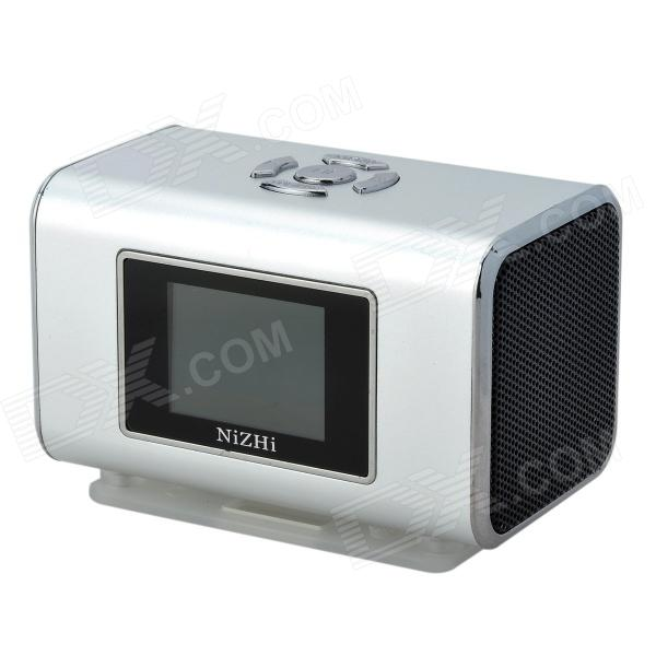 цена на NIZHI TT6 Portable Mini Music Speaker MP3 Player w/ FM / TF Card Slot - Silver