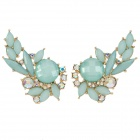 ER-5297 Hollow-out Zinc Alloy + Rhinestone Women's Earrings - Green + Translucent White