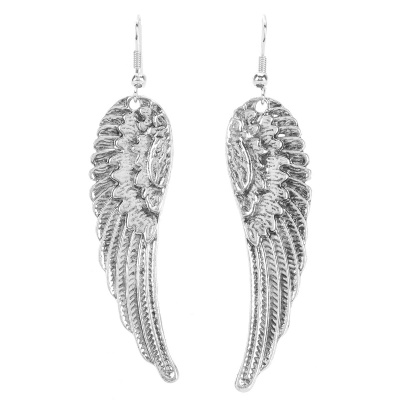 Retro Angel Wings Style Zinc Alloy Women's Earrings - Silver