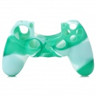 Anti-slip Silicone Case for PS4 Controller - White + Green