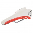 LIETU A6 Cycling Bicycle PU Leather Saddle - White + Red