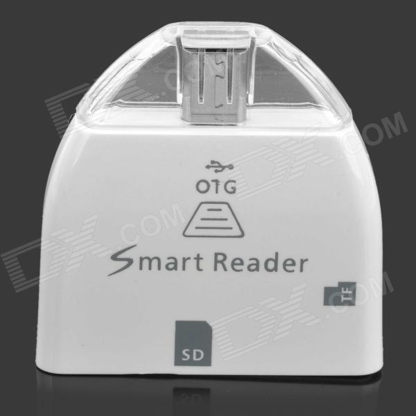 Micro USB OTG Smart Reader for Samsung Galaxy S2 / S3 / S4 / Note / Note 2 - White (Max. 32GB) 2 in 1 usb and micro usb otg tf sd card reader white