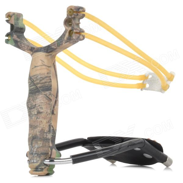 Stylish Plastic + Stainless Steel Slingshot w/ Steel Balls / Flashlight Clamp - AT Camouflage