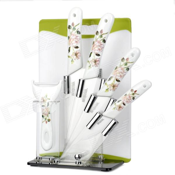 Bestlead Zirconia Ceramic 3 5 6 Kitchen Knives + Chief Knife + Peeler + + Stand + Chopping Board bestlead 4 6 ceramics knife peeler set blue white