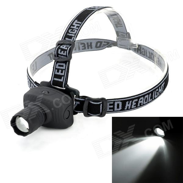 exLED 3W LED 80lm 3-Mode White Zooming Headlamp - Black