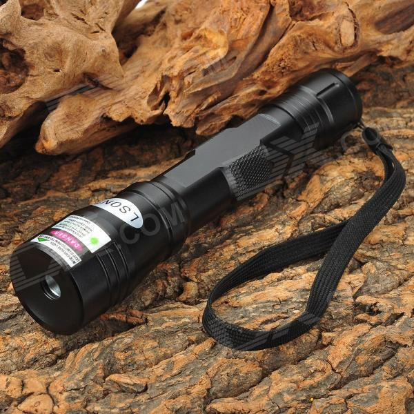 LSON SD-210 5mW 532nm Green Laser Flashlight - Black (1 x 18650) laser flashlight red green purple laser pointer pen beam light powerful torch for speech exploration teaching astrophil