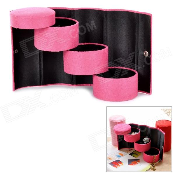 Round Shaped Portable Multi-functional 3-layer Jewelry Storage Box - Deep Pink