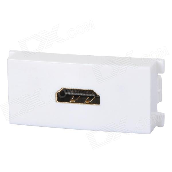 Female HDMI v1.4 Module Wall Plate Socket Panel - White + Green white square wall mounted three phase four wire outlet socket plate 380vac 25a