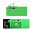 Mini Bluetooth V2.0 Speaker w/ Battery + TF Card Slot + Radio - Green