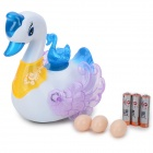 Novelty Electronic Laying Eggs Swan w/ Light / Sound - White + Blue (3 x AA)