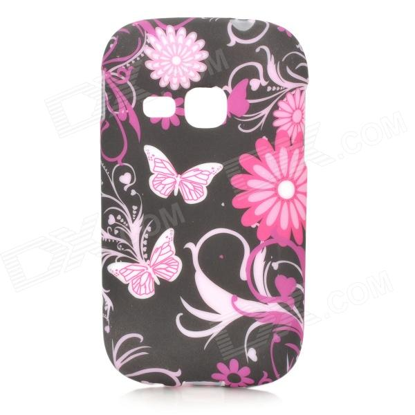 Butterfly & Flower Style Protective TPU Case for Samsung Galaxy Young S6310 / S6312 / S6313 - Black
