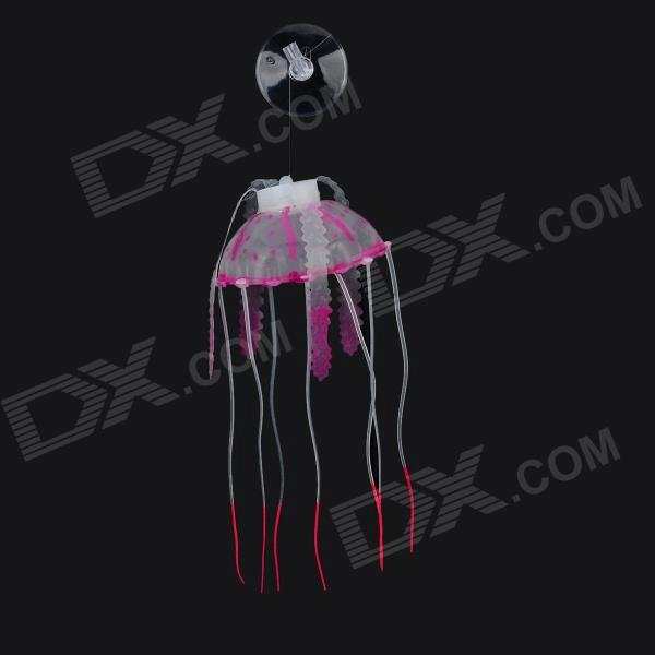 E5YK Silicone Aquarium Emulate Jellyfish - Translucent Purple + White
