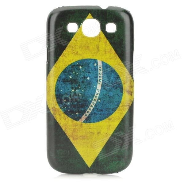 Brazilian Flag Style Protective PC Back Case for Samsung Galaxy S3 i9300 - Green + Yellow + Blue football patterns protective pc artificial leather case for samsung i9300 i9308d green