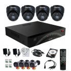 SANNCE P2P HDMI 4-Channel H.264 DVR + 4 x 480TVL Dome Cameras CCTV Security System w/ 500GB HDD