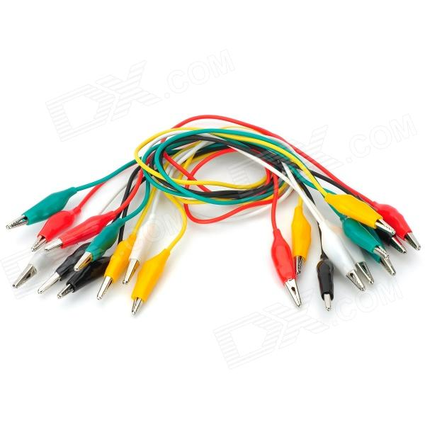 Dual Crocodile Clips Copper Wire Test Cables - Multicolored (10 PCS / 50cm)