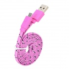 USB to Micro USB Data Charging Braid Nylon Cable for Sony / HTC - Pink (90cm)